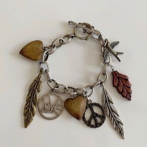 Boho Peace Love Leaves Toggle Charm Bracelet